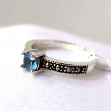 925 STERLING SILVER 4 MARCASITE AND AQUA CZ SET  RING SIZE 6