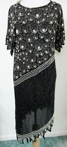 Vintage SWEELO M Fully BEADED Silk Dress Evening Cocktail Great Gatsby Flapper