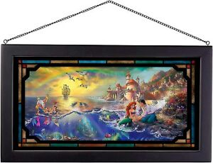 Thomas Kinkade Studios Little Mermaid 13 x 23 Framed Stained Glass