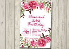 FLORAL 30TH 40TH 50TH 60TH Flowers Invitation LADIES Girls Birthday Party Pink