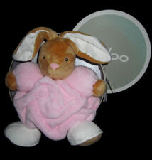 Doudou Lapin plume marron rose blanc Kaloo 25 cm médium K969466 Rabbit pink