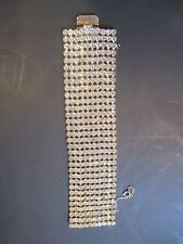 Wide 10-row Unsigned Bracelet Original Art Deco Rhinestone-1 5/8""
