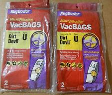 4 Oem Rug Doctor Dirt Devil Type U Vacuum Bags Rd 10456 Micro Filtration 2ply Hd