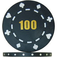 Budget Range Suited Numbered Poker Chips - Black 100 (Roll of 25)
