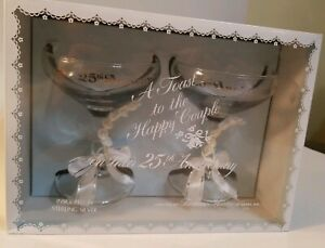 25th Anniversary Toasting Champagne Glasses with Silver and White Ribbon in box