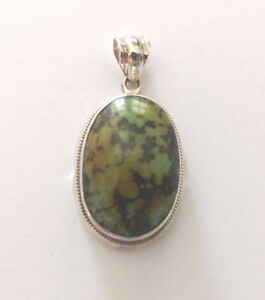 Sterling Silver Oval Shaped Turquoise Stone Pendant