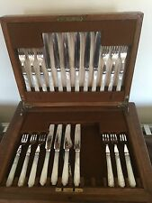 Entubado Conjunto de 22 Madre De Perla Y Plata Plateado Fruta Cuchillos Y Tenedores (M & W)