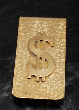 NEW GOLD TONE  $ DOLLAR SIGN RELEIF  DESIGN MONEY CLIP NEW OLD STOCK