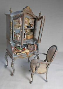 Dollhouse miniature old Collectors filled Cabinet + chair ARTISAN TWYLLA CHARLES