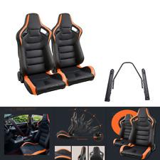 2pcs Car Racing Seats PU Leather Recline Black Orange Sport Seats with 2 Rails