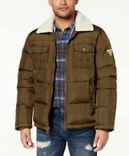$389 Guess Men'S Green Quilted Puffer Logo Front Zip Jacket Fleece Down Coat S