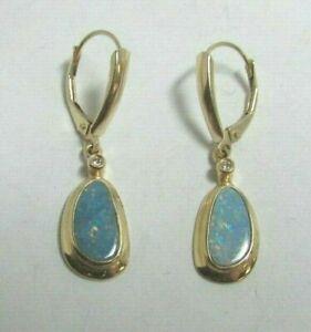 14K Yellow Gold Designer IOG Natural Australian Black Fire Opal Diamond Earrings