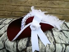 Stunning Unique Maroon White Tricorn Pirate Hat Steampunk Feathers  (BOXH)