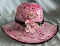 """Block Crystal Art Glass Hand Crafted PINK Hat 11"""" Wide NO CHIPS FLAWLESS"""