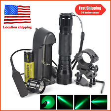 Tactical Green Light LED Night Hunting Flashlight For Rifle W/Scope Mount+18650