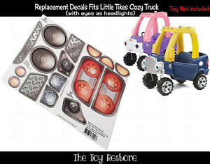 Replacement Decals fits 2017 Little Tikes Cozy Coupe Truck With Eyes Headlights