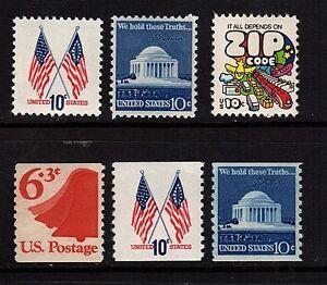 #1509, 1510, 1511, 1518, 1519 & 1520 1973 - 74 Regular Issues  set - MNH