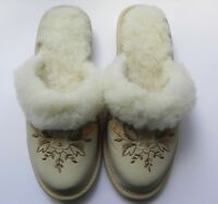 Ladie's / Women`s 100% Natural Leather Warmed Slippers Size:3, 4, 5, 6, 7, 8 TKB