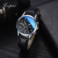 New Mens Watch Stainless Steel Leather Black/Brown Strap Analog Wrist Watches VP
