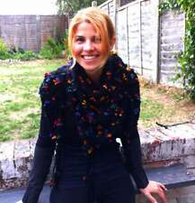 Alize hand croched shawl/bulky yarn boho style flowered shawl/triangle scarf