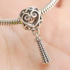 925 Sterling Silver Enchanted Heart Tassel Charm Dangle Fit European Bracelet