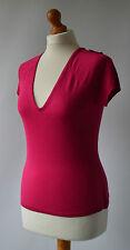 Ladies Liz Claiborne Deep Pink Silk Mix Short Sleeved Top Size M Size 10 NWT