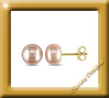 Real Pink Button Akoya Pearls CA 7,5 - 8 mm Ear Stud Earring Gold 750 18 KT