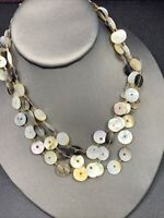 Vintage mother of Pearl three strand necklace 16 inches natural color