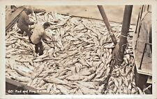 CORDOVA ALASKA~RED & KING SALMON-REAL PHOTO POSTCARD 1940s