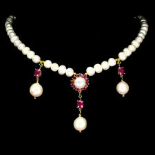 Oval Red Ruby Chrome Diopside Pearl 925 Sterling Silver Necklace 18 Inches