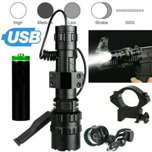 9000LM Lamp Scope Mount Gun Light Camping Hunting Air Rifle Torch + Batteries UK