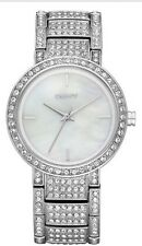 New DKNY Silver And Crystal Mother Of Pearl Dial Watch NY8054
