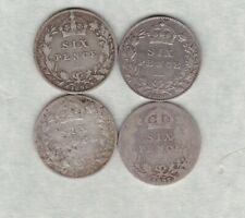 More details for four 1894/1896/1897 & 1899 old head sixpences in fair to good fine condition