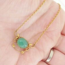 necklace, art nouveau period, 9k 375 9ct gold barrel clasped chalcedony pendant