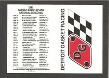 POCKET SCHEDULE: 1991 NASCAR WINSTON CUP & BUSCH GRAND NATIONAL SERIES RACES