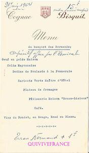 MN278 - MENU BANQUET DES NORMANDS 1964 CONGNAC BISQUIT