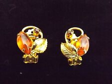 Absolutely Beautiful Juliana Brand Gold Amber Clip On Earrings