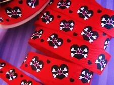 "10 yards Princess Skull & Heart Grosgrain 7/8"" Ribbon/Halloween/craft/Supply R88"