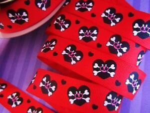 "10 yards Princess Skull & Heart Grosgrain 7/8"" Ribbon/Halloween/craft/Supply R88"