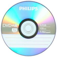 100 Philips 16X Logo DVD+R DVDR Blank Disc Media 4,7GB 120Min