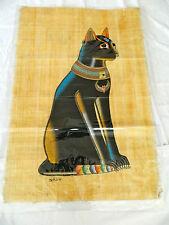 "Egyptian Papyrus Paper Painting Pharoah Cat Bastet 26""X34"""