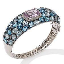 Yours by Loren 42.15ct Multigem Sterling Silver Bangle Bracelet HSN $1289.90