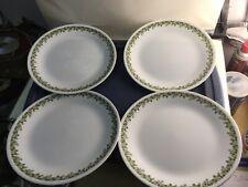 "4 Vintage Corelle SPRING BLOSSOM Green CRAZY DAISY Dinner Plates Corning 10 1/4"""