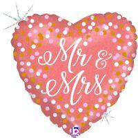 "Betallic Mr. And Mrs. Rose Gold Glitter Holographic Heart Shape Balloon- 18"""