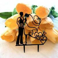 Silhouette Bride and Groom Hugging Wedding Cake Topper Bridal Shower Hens Party