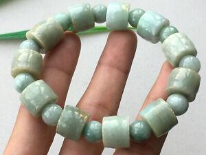 Certified Natural A Grade Light green 14mm jade Jadeite Carving Bracelet 0631