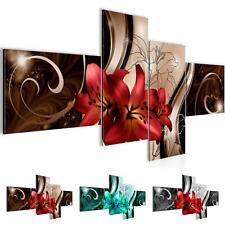 Wandbilder Set XXL Modern | Blumen Lilien  Wohnzimmer Schlafzimmer Deko Wanddeko