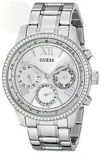 Guess Womens U0559L1 Sporty Silver-Tone Stainless Steel Watch With New