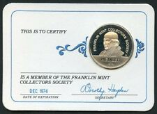 FRANKLIN MINT 1974  COLLECTOR SOCIETY MEMBERSHIP STERLING SILVER MEDAL CARD