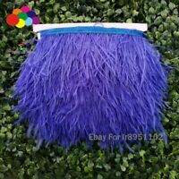 Sapphire Natural ostrich feather Trimming ribbon for DIY wedding dresss craft